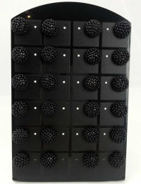 E055-12 paires B.O boules noires rocaille