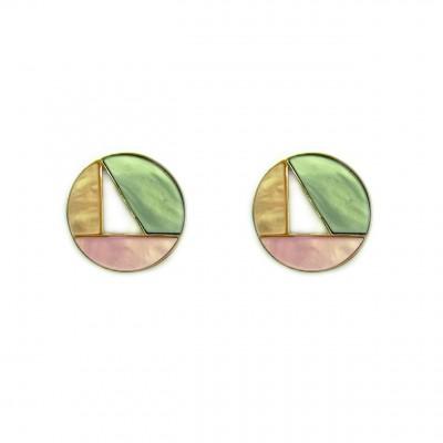 boucles d'oreilles résine simples rondes tricolors