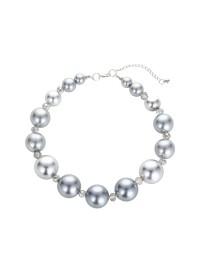 combinaison boucles d'oreilles bracelet chaîne de nacres grises